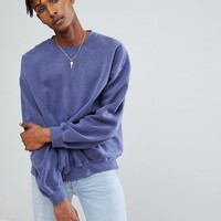 Reclaimed Vintage Inspired Oversized Sweatshirt In Washed Navy at asos.com