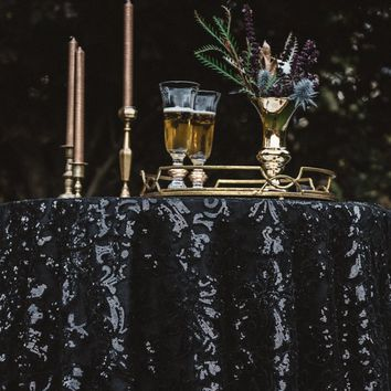 Black Sequin Table Overlay