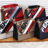 """FENDI"" Women Fashion Stitching Multicolor Stripe Purse Long Section Button Flip Bag"