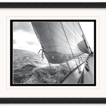 Heeling to Port Framed Matted Art