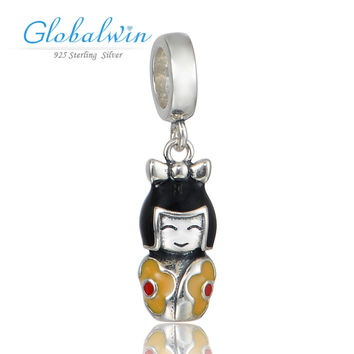 japanese doll baby 925 sterling silver pendents charms fit silver vintage bracelet charm  making s371