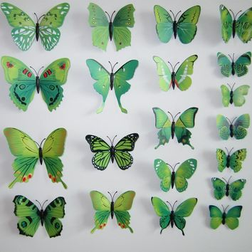 12 Pcs 3D DIY Butterfly Wall Stickers Wall Art Home Decor Room Decorations Hot