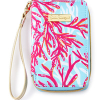 Coral-Print Tiki Palm iPhone 6 Wristlet