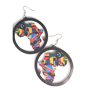 Colors of Africa Earrings | Africa shaped earrings | African earrings | Natural hair earrings | Afrocentric earrings | jewelry | accessories