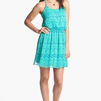 Soprano Strappy Print Racerback Dress (Juniors) | Nordstrom