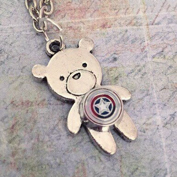 Captain Bear Necklace, Superhero Necklace, Superhero Jewelry, Fandom Jewelry, Fangirl Jewelry