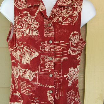 Vintage Harley Davidson Officially Licensed Sleeveless Logo Motorcycle Sketch Drawings Specs Specifications Shirt Top Blouse Size Small
