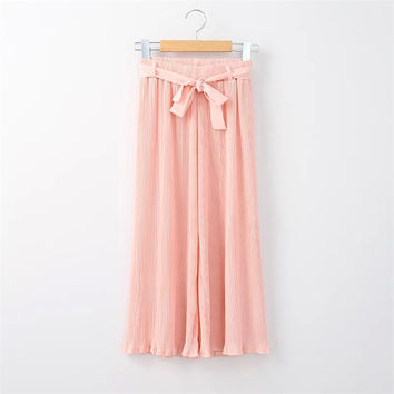Summer Women's Fashion Korean Pleated Casual Pants [4920276484]