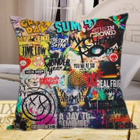 "5 seconds of summer all time low my chemical romance fall out boy blink 182 nirvana green day on square pillow cover 16"" 18"" 20"""