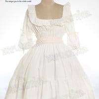 Classical Lolita, Victorian Chemise Square Neckline 6/10 Length Sleeves Dress/OP*Knee Length 3colors Instant Shipping