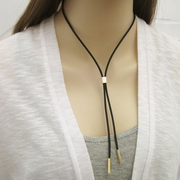 Leather Cord Necklace / Leather Tie Choker / Leather Necklace / Black Cord  Necklace / N287