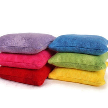Rainbow Bean Bags Bright Flannel Homeschool Red Pink Purple Blue Green Yellow Child's Toy (set of 6) US Shipping Included