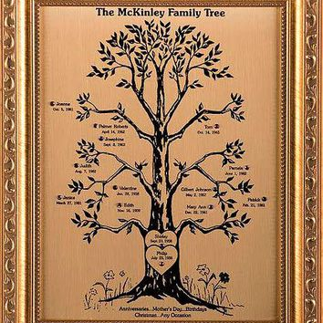 Engraved Custom Family Tree Free Personalized for Anniversary Wedding Housewarming Family Reunion Ancestry Heritage Grandchildren Keepsake