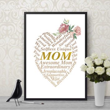 Word Cloud, Mom Printable, Printable Art, Digital Download