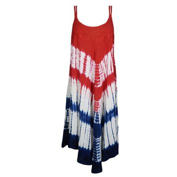 Mogul Womens Cover-Up Tank Dress Sleeveless Relaxed Fit Rayon Tie Dye Color Full Boho Sexy Dresses - Walmart.com
