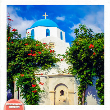 Greece square printable, digital download, blue dome church white wash building, Greek architecture, travel photography, wall art home decor