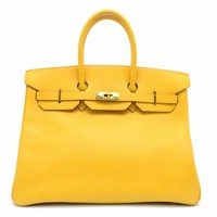 Auth Hermes Birkin 35 GHW Tote Bag Courchevel Leather Jaune/Yellow 1269