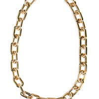 Long Posh Golden Link Chain Necklace - Gold