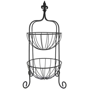 Black Two Tier Basket with Fleur-De-Lis Topper | Hobby Lobby
