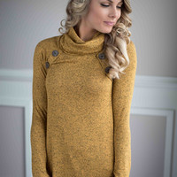 Mustard Button Tunic Top