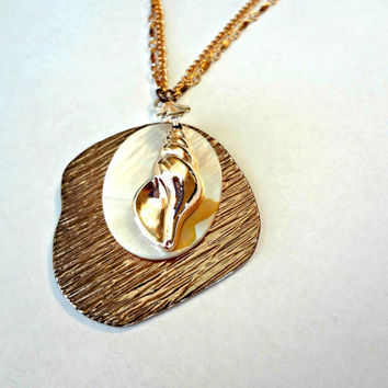 Copper Conch Shell Pendant on Double Chain by EudaimoniaJewelry