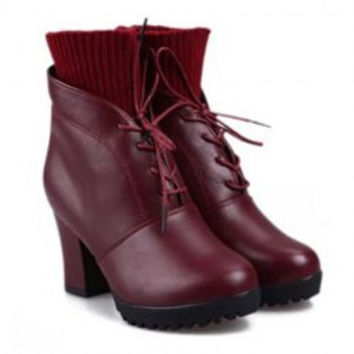 Stylish Women's Sweater Boots With Solid Color and Chunky Heel Design
