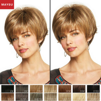 Short Human Hair Wigs For Women Elegant MAYSU Inclined Bang Classic Brazilian Virgin Hair Blonde wig Capless European Style