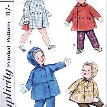1950's Vintage Sewing Pattern - Child's / Toddler's Coat With Hood / Peter Pan Collar And Pants / Trousers - Simplicity S.166 - Chest 20""