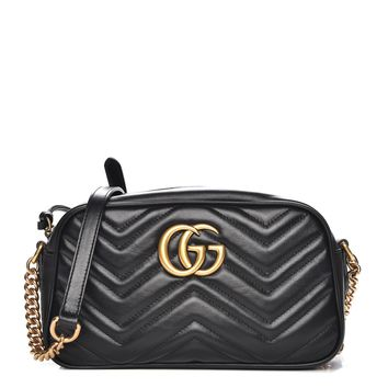 GUCCI Calfskin Matelasse Small GG Marmont Chain Shoulder Bag Black