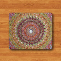 Mandala Geometric Color Cotton Line Abstract Mouse Pad Colorful MousePad Desk Deco Work Pad Mat Rectangle Art Personal Gift Office Friend