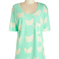 ModCloth Pastel Short Sleeves Adorned with Adorable Top