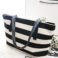 Striped Canvas Tote Handbag