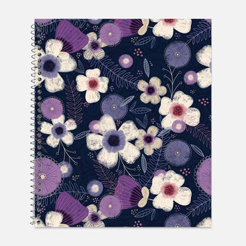 Pretty Cream, Purple and Navy Flower Notebook, Waterproof Cover, Floral Notebook or Journal, Office Supplies, School Supplies, College Ruled
