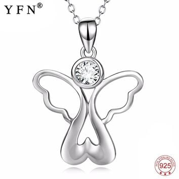 Genuine 925 Sterling Silver Necklace Angel With Wings Cubic Zirconia Pendants Necklaces Love Heart Jewelry For Women PYX0155