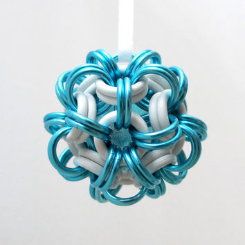 Turquoise and white chainmaille dodecahedron Christmas ornament