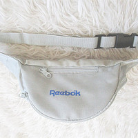 Vintage REEBOK Grey Athletic Logo Hip Bag Adjustable Waist FANNY PACK