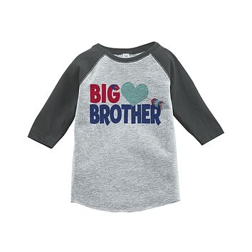 Custom Party Shop Boy's Big Brother Happy Valentine's Day Grey Raglan