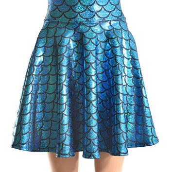 CoquetryClothing CoquetryClothing on Etsy  69.99. Mermaid Scale Turquoise    Black Hologram Sparkle Skater Skirt -E7440 caef6ce3b