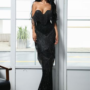 Missord Layered Fringe Bardot Sequin Floor Length Dress
