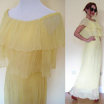 Vintage 60's 70's yellow off shoulder pleated cocktail gown maxi hippie party boho bohemian layer ruffle wedding prom