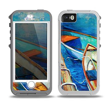 The Colorful Pastel Docked Boats Skin for the iPhone 5-5s OtterBox Preserver WaterProof Case