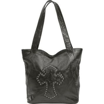 Large Leather Purse with Shoulder Strap, Tooled Design & Studded Cross