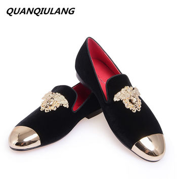 New Fashion Red Bottoms Gold Top and Metal Toe Men Velvet Casual shoes Men Handmade Loafers Plus Size Men's Flats Free shipping