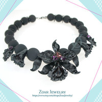 Black Mat beads Floral Choker Necklace, Statement Necklace, Bib Necklace, Bridesmaids Necklace, Fashion Party Necklace