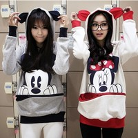 MICKEY/ MINNIE MOUSE EAR HOODIE PULLOVER SWEATER