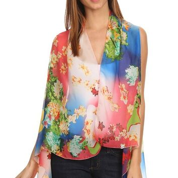 Womens Lightweight Sleeveless Poncho with Shawl Neckline.