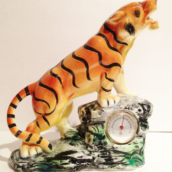 Vintage 1960s Funky Tiger Thermometer