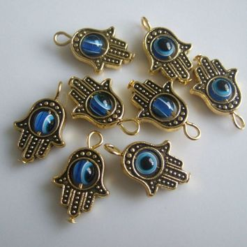 20pcs Antique Gold Tone Hamsa Hand Of Fatima & Blue Lucky Eye Charms Pendants For Bracelet Necklace Earring Jewelry Making