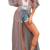 Happy Sailed Women Sheer Lace up Kimono Cardigan Loose Swimsuit Beach Bikini Cover up
