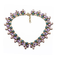 Women Dazzling Crystal Rhinestones Beaded Necklace